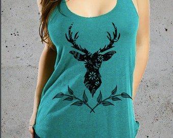 Womens DEER ANTLER Floral Shirt)Deer Antler Tshirt-Deer Shirt-Yoga Clothes-Tank Top-Deer TShirt-American Apparel-Women's Graphic Tee