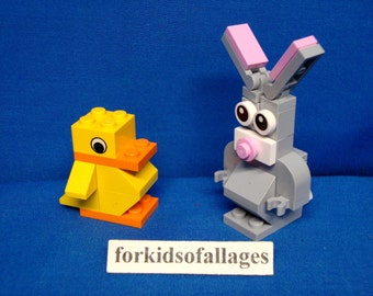Custom Lego Easter Chick and Bunny Great for Easter Basket / Party Favors / Easter Egg Hunt