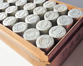 28 Small Containers / Aluminum Cyliner Shape with Screw-on Lids / Authentic vintage small storage / Mulford Labratories / Old Cigar Box