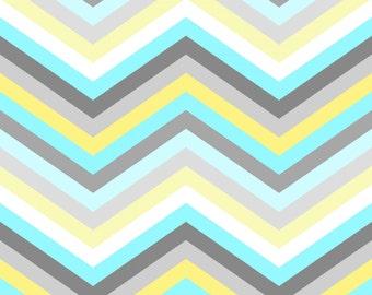 Gray Aqua Yellow and White Chevron Stripe Fabric