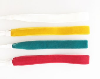 Velvet Set of 4 Baby Headbands - Lovely And Soft Velvet Toddler/Little Girl Simple Headbands - Velvet Trim Headbands - White Velvet Baby