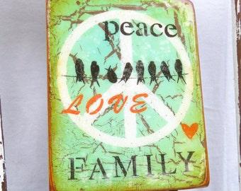Light Green Little Blackbirds PeaceLoveFAMILY-homesanctuary,LOVE, mother/wife gift, high gloss resin coat on light hollow cradle.