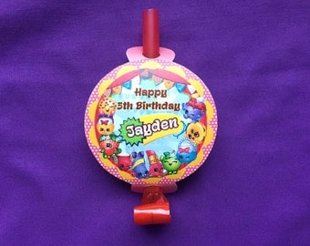 12 Personalized Shopkins Party Blowouts, Party Blowers, Party Favors