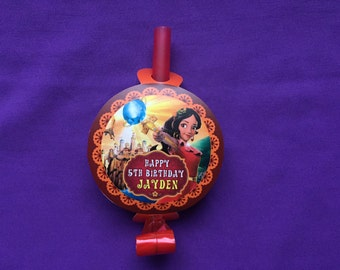 12 Personalized Elena of Avalor Party Blowouts, Party Blowers, Party Favors