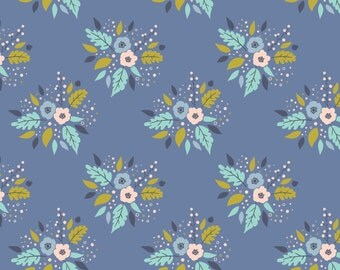 Modern Cotton fabric by the yard - Woodland Fabric - Quilt Fabric - Meadow Collection - Fat Quarter Bundle - Bouquet in Blue