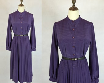 Clearance Sale / Japanese Vintage Purple Dress / Day Dress / Pleated Skirt Dress / Made in Japan / Size Small Medium