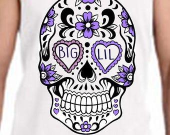 Custom Sugar Skull Sororty Big Little Shirts