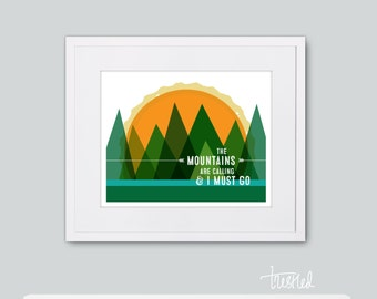 "Mountains are Calling Wall Art Print, Mountain Art: 8x10"" print"