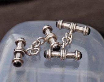 Vintage Tube Onyx Cufflinks