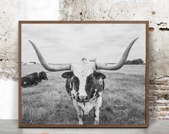 Longhorn print, bison print nursery, digital print, Black and White, boys room wall art