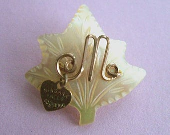 Vintage Rolled Gold Souvenier Initial M Brooch ~ Carved mother of pearl leaf signed Niagara Falls heart dangle charm kitsch Canada souvenir