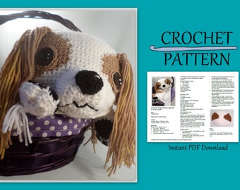 Cavalier King Charles Spaniel Blankie Crochet Pattern // Instant PDF Download //DIY // Baby gift // Photo prop // Dog Lover //  Snuggly