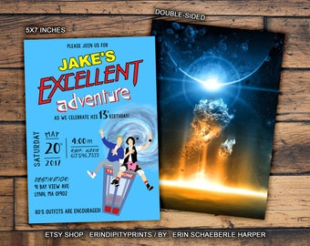 Bill and Ted's Excellent Adventure Invitation (Digital File or Prints with Envelopes) (FREE Shipping) (ALL Wording can be changed)