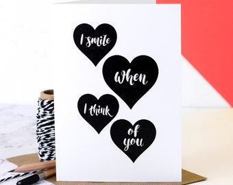 Love Card; 'I Smile When I Think Of You'; Personalised Love Card; Love Card For Husband; Love Card For Wife; Love Card For Girlfriend; GC504