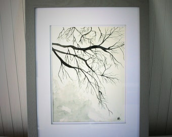 Tree Branches Original Framed Water Color Black and White