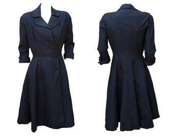 1950s Medium Dress Navy Blue Pin Up Glam Goth French Maid Retro I Love Lucy Shirt Waist House Wife Madmen June Cleaver Leave it to Beaver
