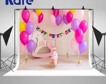 Newborn Baby Photography Backdrops Colorful Balloons Horse Birthday Cake Photo Backgrounds for Children Birthday Party Studio Props HJ03436