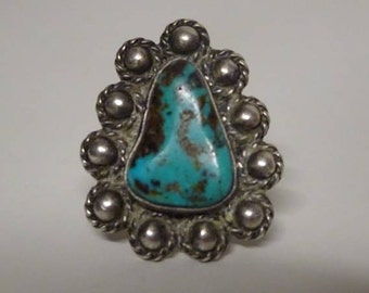 Vintage Native American Sterling Silver and Turquoise Ring  - FREE SHIPPING & Insurance