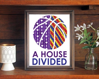 Big 12 Customized House Divided Basketball, Rivalry Print Personalize Your Favorite Teams