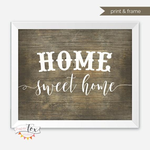 Rustic Home Decor Printable Wall Art Home Sweet Home Sign