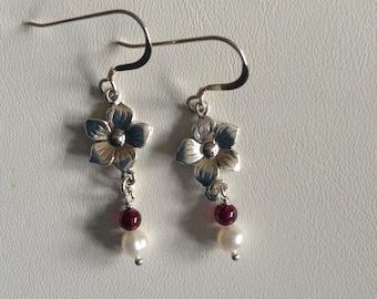 Flower and Gemstone Earrings