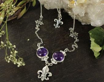 Fleur de Lys necklace - Queen necklace - Heraldic necklace - Sterling silver necklace - Amethyst necklace - Handmade