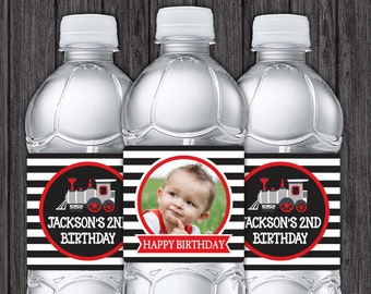 Train Birthday Water Bottle Labels - Printable Train Birthday Party Decorations - DIY Digital File