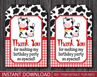Cow Favor Tags - Cow Birthday Thank You Party Favor Tags - Printable Digital File - INSTANT DOWNLOAD