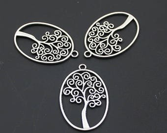 Tree of Life, Oval Shape Pendant, Tree of Life Pendant 40X27mm (5pcs)