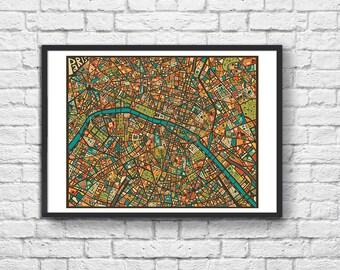 Art-Poster - 50 x 70 cm - Paris geometric mosaic map  - by Jazzberry Blue