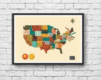 Art-Poster - 50 x 70 cm - United States Map  - by Jazzberry Blue