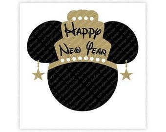 Disney, Minnie, Happy New Year, Crown, Star, Earrings  Head, Mouse Ears, Digital, Download, TShirt, Cut File, SVG, Iron on, Transfer