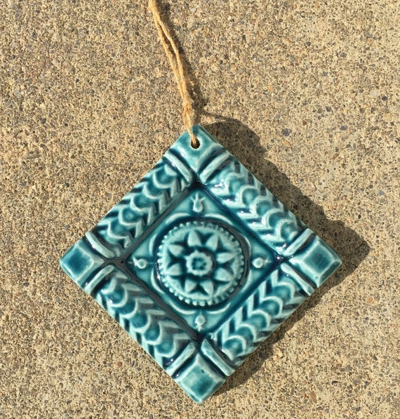 Ceramic Tile Tree Ornament -- Handmade 2x2 ButterMold Accent tile Ornament in Peacock Glaze