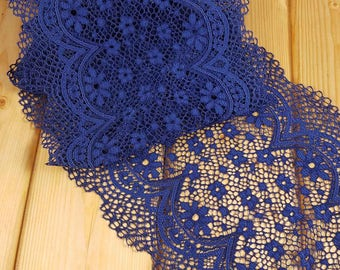 Inkblot Blue 21 cm wide Crochet Look Stretch lace by the meter