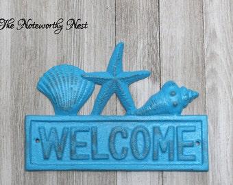 CHOOSE YOUR COLOR -Cast iron seashell wall hanging // Cast iron shell // bathroom decor // nautical decor // beach decor / pool decor