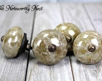 Quantity Custom knobs / Decorative knob / drawer pulls / dresser knob / marble look knob / tan knob / tuscan decor / gold knobs /