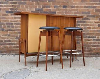 Danish Modern Walnut Dry Bar & Stools