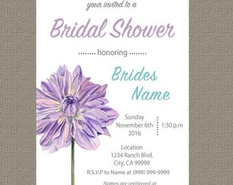 Purple Flower Bridal Shower Invitation - Download