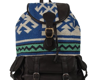 Handmade kilim backpack / Leather bag / Bohemian bag / Moroccan backpack / Ethnic pattern / Boho style daypack / Black leather backpack