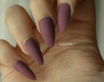 Dark mauve stiletto false nails! Matte or glossy mauve pink fake nails, red nails burgundy nails
