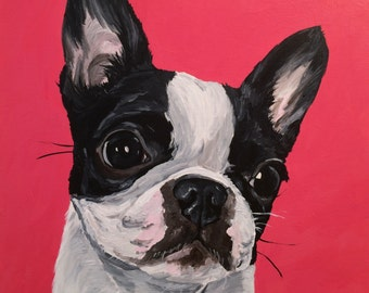 Boston Terrier dog art print from original painting, Boston Terrier art print