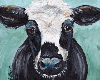 "Canvas Cow art print from original canvas cow painting, sweet cow ""Clyde"""