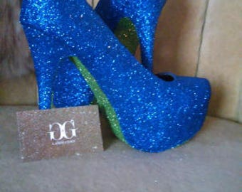 Custom made to order blue and green heels. Woman's US size 5-12