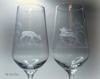 Rowland Ward Etched Crystal Goblets Buck Deer Pheasant Duck Vintage Mid Century (Set of 4)