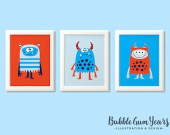 Monsters print set, boys monster nusrery prints, monster art, monster nursery prints, boys bedroom, kids room, boys room, monster decor