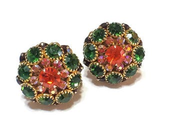 Red & Green Crystal Earrings, Rhinestone Domed Earrings, Aurora Borealis, Button Style, 1950s, Special Occasion Jewelry, Vintage Jewelry