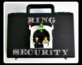 alternative wedding ring box briefcase for ring bearer box ring security briefcase wedding box bride and groom mini figures heart platform