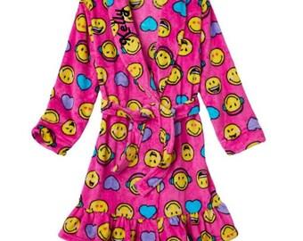 Girls 6-12 Emoji Bath Robe - Personalized Monogrammed