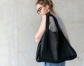 Large deepest black tote bag / linen beach bag