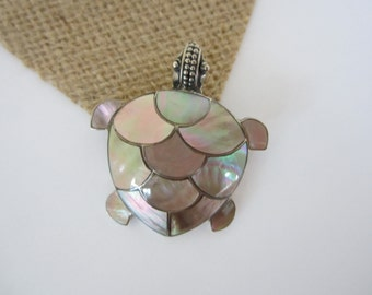 Mother of Pearl Turtle Pendant, Pearl Turtle Pendant and Brooch, Pearl and Silver Pendant